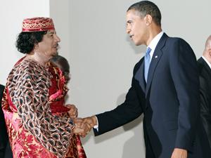 Obama shaking hands Qadaffi Muder photo